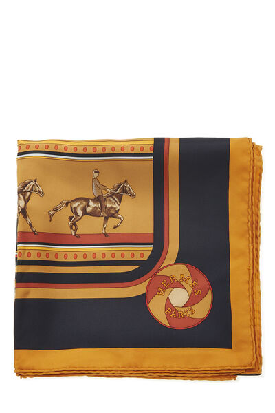 Orange & Multicolor 'Sequences' Silk Scarf 90, , large