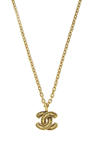 Gold Quilted 'CC' Necklace Small, , large