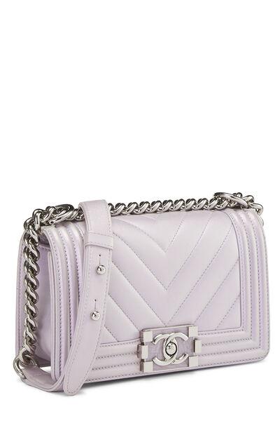 Iridescent Lavender Chevron Lambskin Boy Bag Small, , large