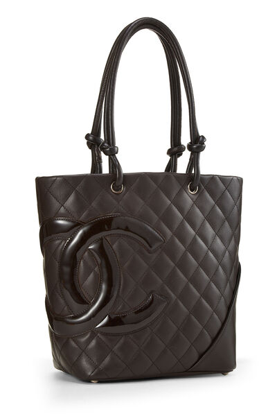 Brown Quilted Calfskin Cambon Tote Small, , large