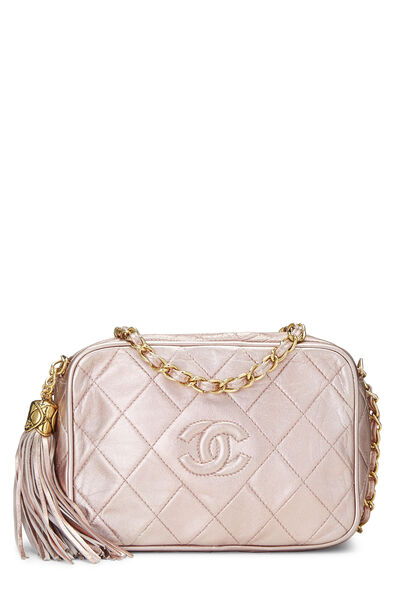 Metallic Pink Lambskin Diamond 'CC' Camera Bag Mini