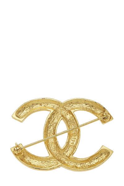 Gold & Crystal 'CC' Pin, , large