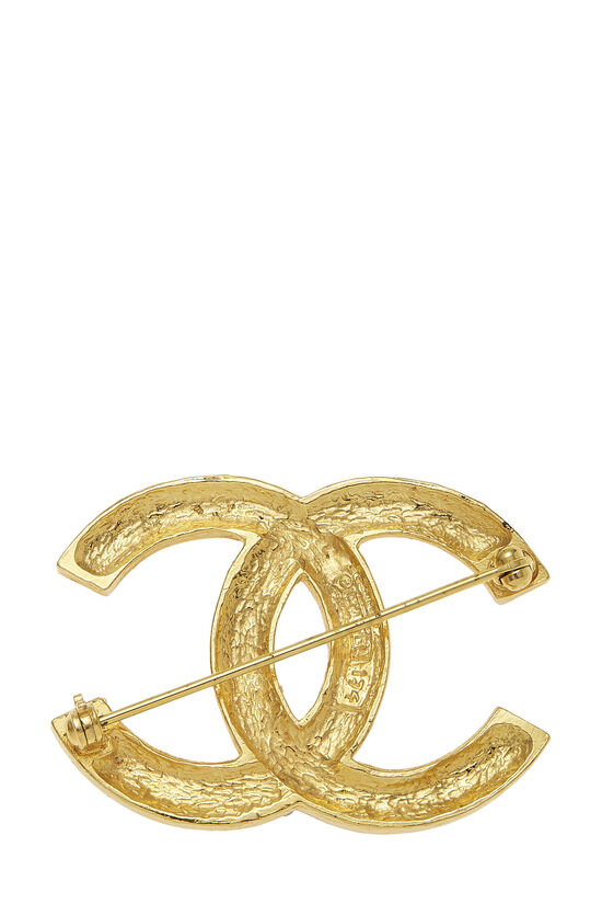 Gold & Crystal 'CC' Pin, , large image number 1