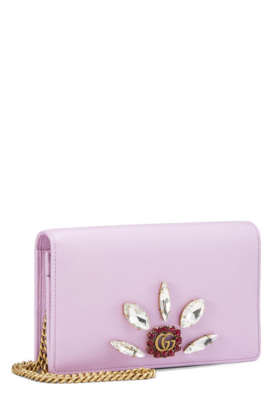 Pink Leather GG Marmont Wallet on Chain Mini, , large