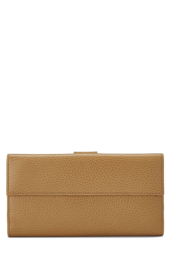 Beige Grained Leather Tab Wallet, , large image number 2