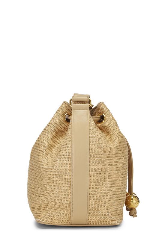 Beige Raffia 'CC' Bucket Bag Small, , large image number 2