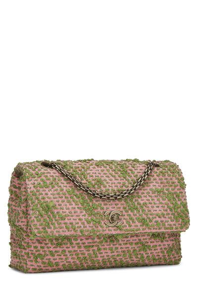 Pink & Green Tweed Classic Flap Medium, , large