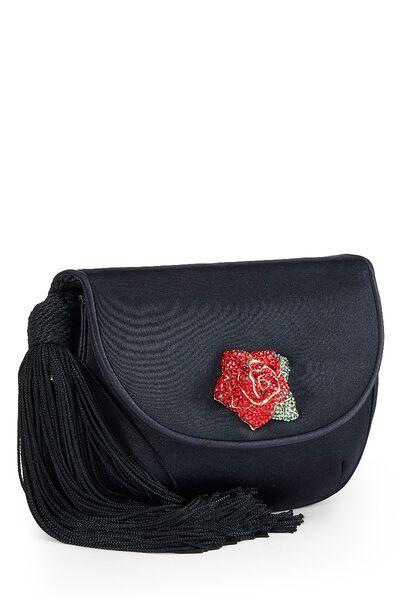 Black Satin Floral Embellished Shoulder Bag, , large