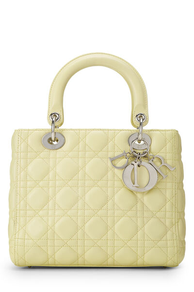 Yellow Cannage Quilted Lambskin Lady Dior Medium