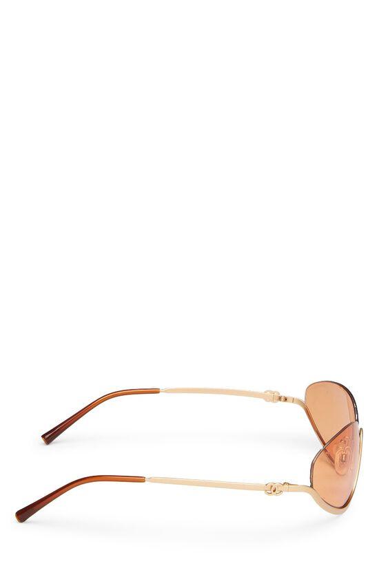 Gold Metal Half Rim Sunglasses, , large image number 2