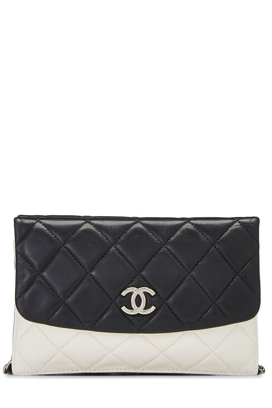 Black & White Quilted Lambskin Double Sided Wallet On Chain (WOC), , large image number 4