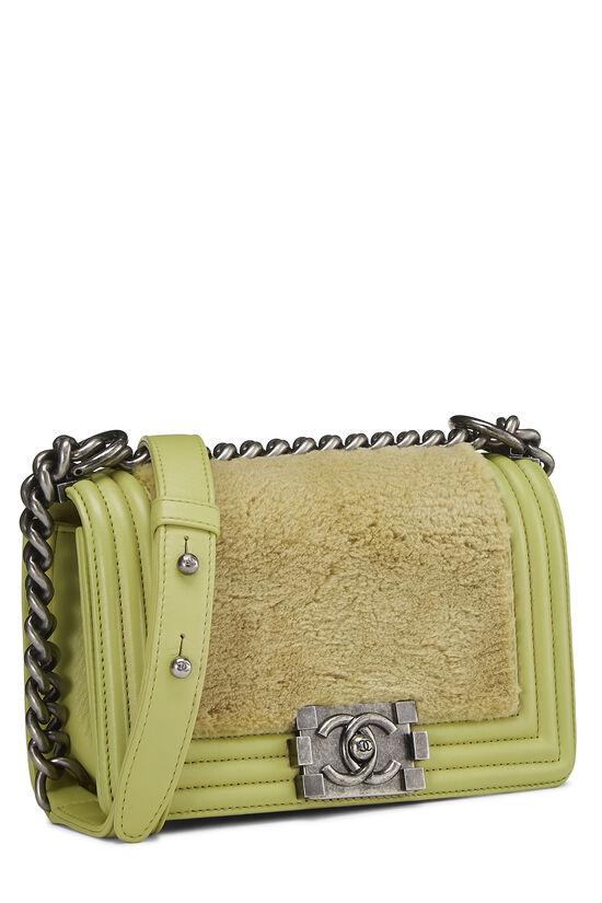 Green Fur & Calfskin Boy Bag Small, , large image number 2
