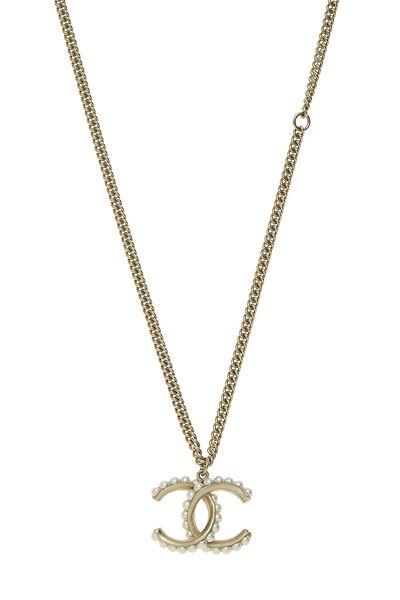 Gold & Faux Pearl 'CC' Necklace, , large