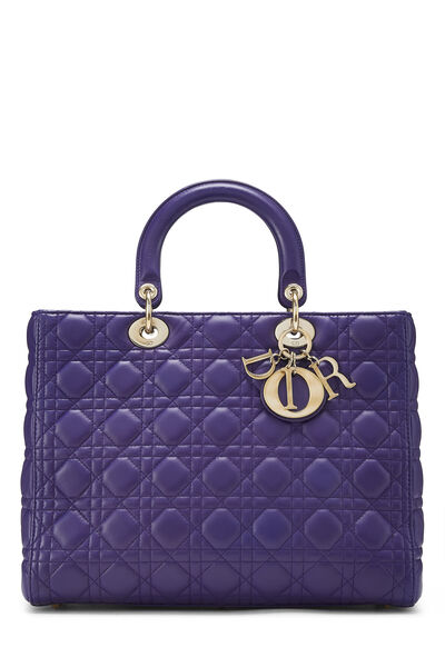 Purple Cannage Quilted Lambskin Lady Dior Large