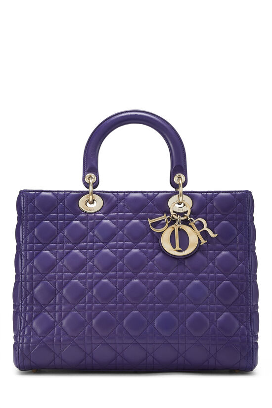 Purple Cannage Quilted Lambskin Lady Dior Large, , large image number 0