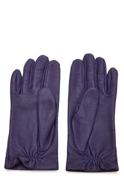 Purple Embroidered Lambskin Gloves, , large