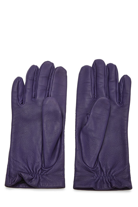 Purple Embroidered Lambskin Gloves, , large image number 1