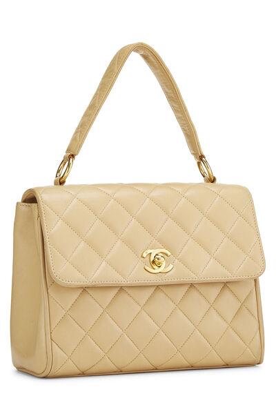 Beige Quilted Lambskin Handbag, , large