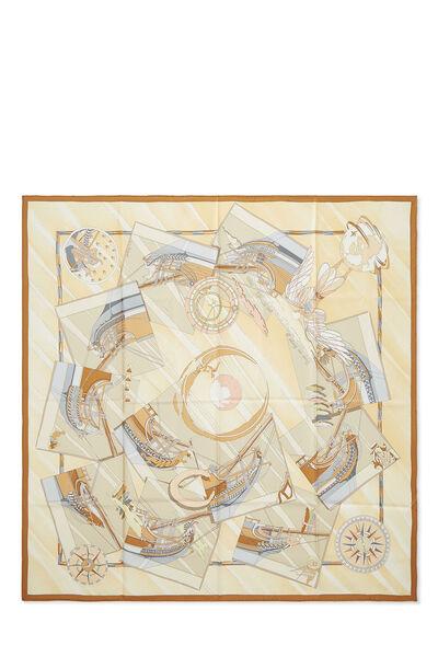 Beige & Multicolor 'Face Au Large' Silk Scarf 90