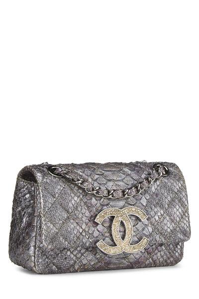 Grey Python 'CC' Flap Bag Small, , large
