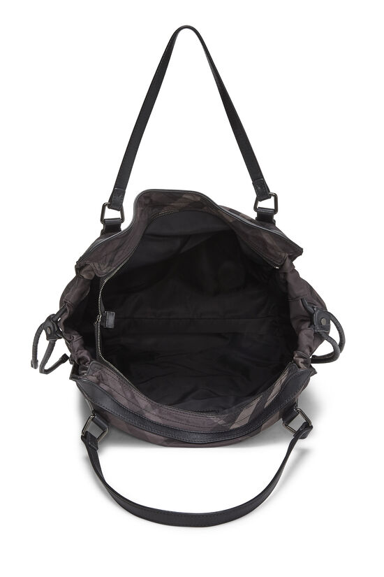 Black Check Nylon Buckleigh Tote, , large image number 5
