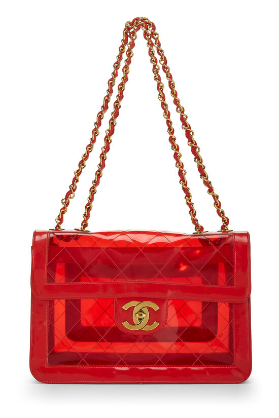 Red Quilted Vinyl Half Flap Maxi, , large image number 0