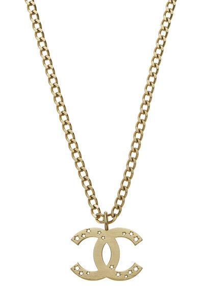 Gold Cutout Star 'CC' Necklace, , large