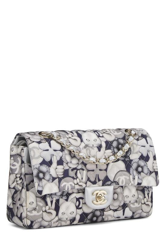 White & Grey Emoticon Nylon Classic Double Flap Medium, , large image number 1