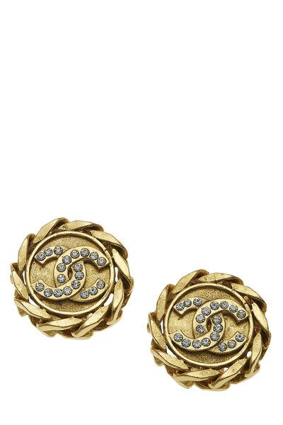 Gold & Crystal 'CC' Chain Border Earrings