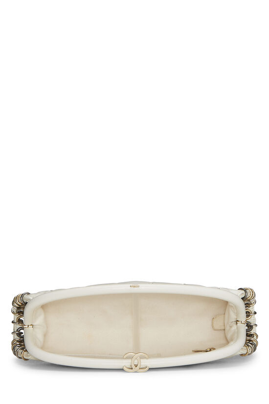 White Calfskin Punk Timeless Clutch, , large image number 5