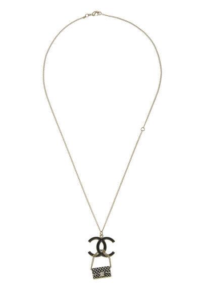 Gold & Black Enamel 'CC' Flap Bag Necklace
