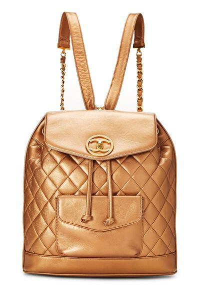 Bronze Quilted Lambskin Backpack Large