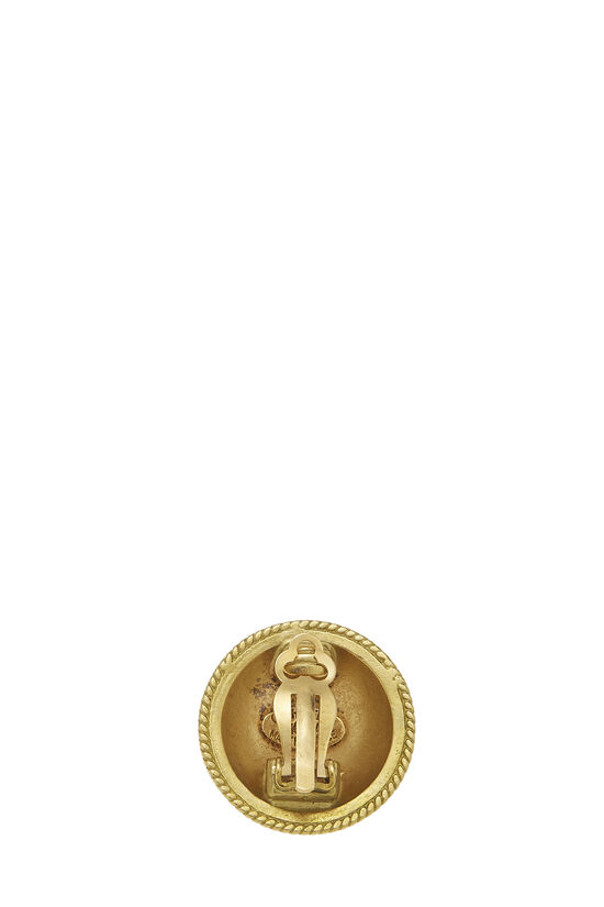 Gold 'CC' Round Earrings, , large image number 1