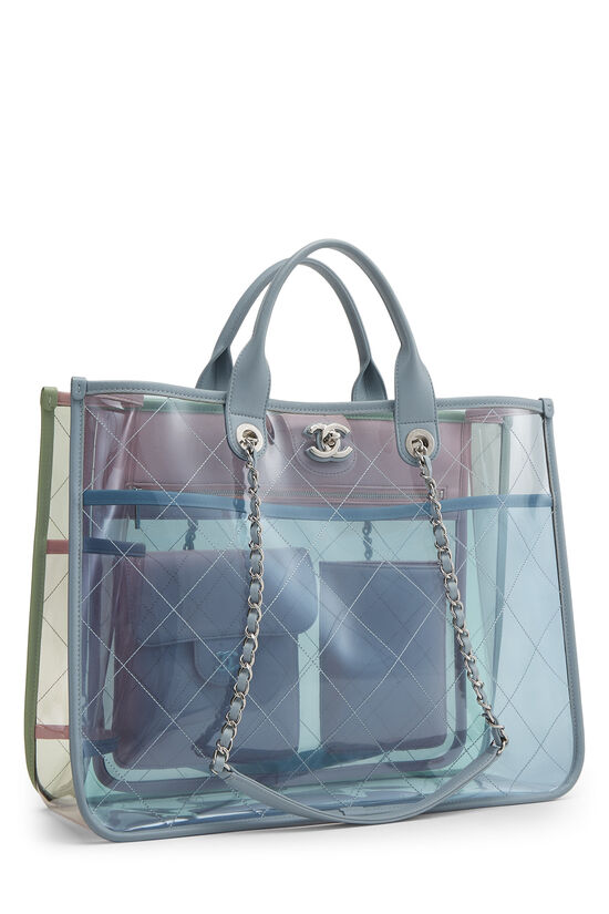 Multicolor Quilted Vinyl Coco Splash Shopping Tote Medium, , large image number 2