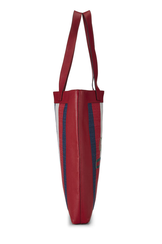 Red Leather & Canvas Sylvie Baiadera Tote, , large image number 2