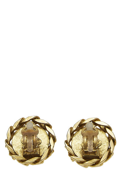 Gold & Crystal 'CC' Chain Earrings, , large