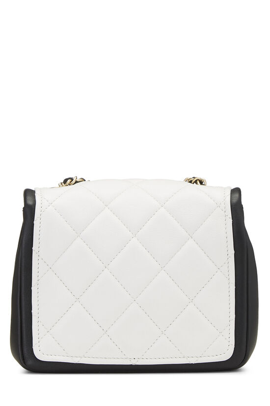 White & Black Quilted Lambskin Classic Square Flap Mini, , large image number 3