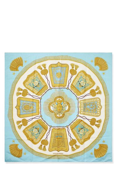 Blue & Multicolor 'Poste et Cavalerie' Silk Scarf 90