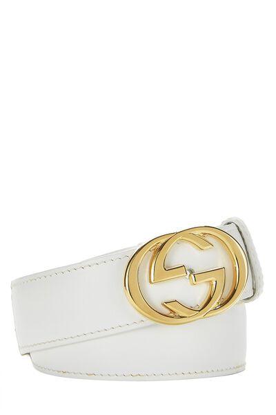 White Leather GG Belt 60