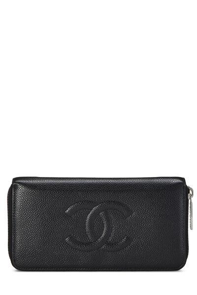 Black Quilted Caviar Zip Wallet