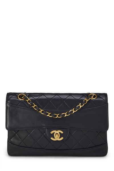 Black Quilted Lambskin Border Flap Small
