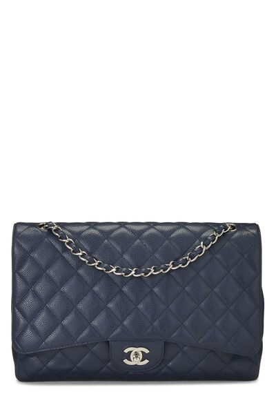 Navy Quilted Caviar Single Flap Maxi