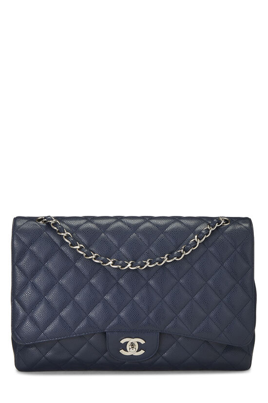 Navy Quilted Caviar Single Flap Maxi, , large image number 0