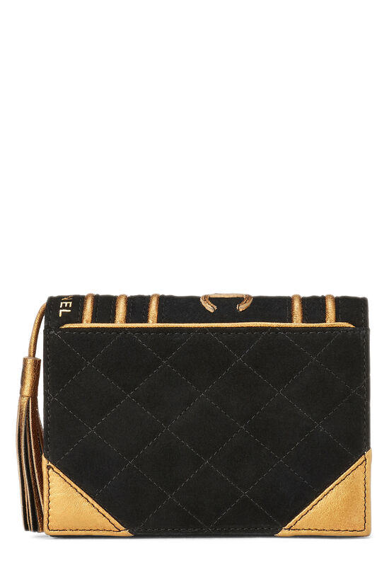 Black Quilted Suede Bible Clutch , , large image number 0