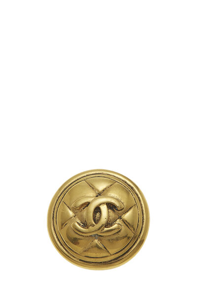 Gold Quilted 'CC' Pin