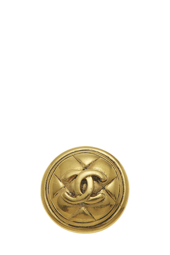 Gold Quilted 'CC' Pin, , large image number 0
