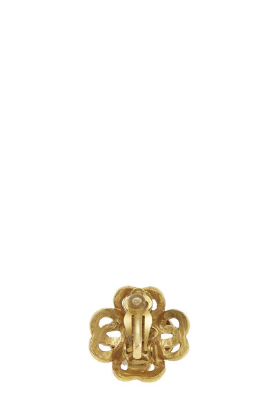 Gold Woven Clover 'CC' Earrings, , large