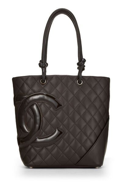 Brown Quilted Calfskin Cambon Tote Small