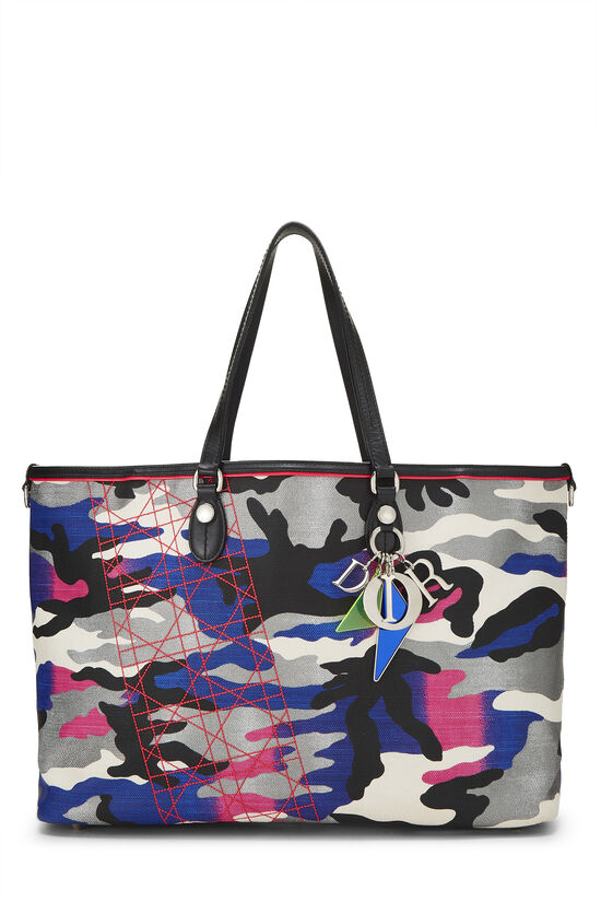 Anselm Reyle x Christian Dior Multicolor Camouflage Coated Canvas Tote, , large image number 0