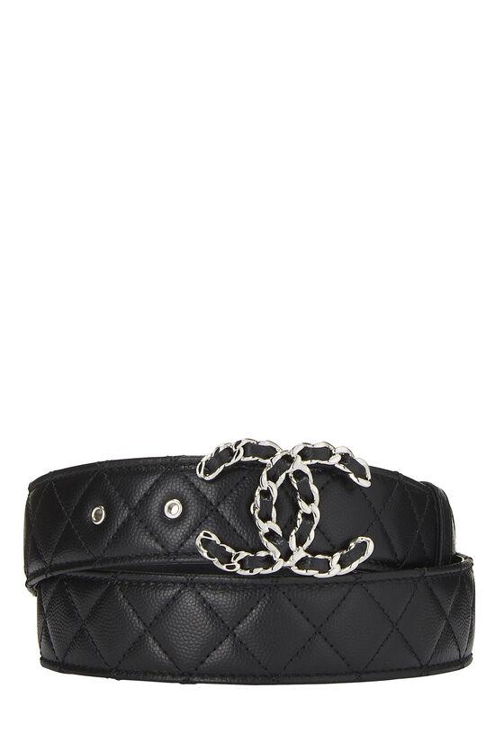 Black Quilted Caviar 'CC' Belt, , large image number 0